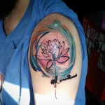 Aquarelle Lotus Tattoo on Shoulder