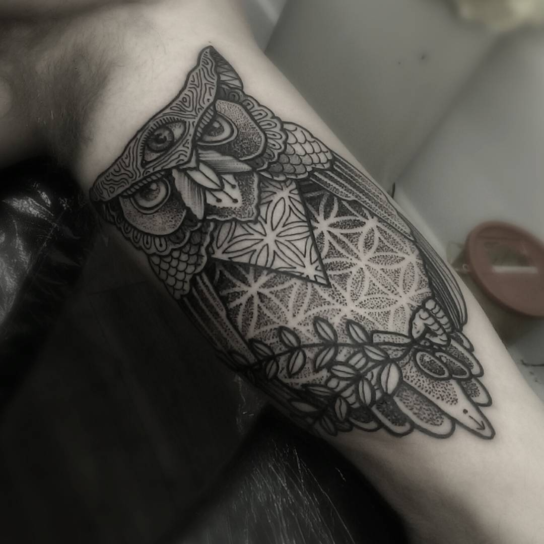 Arm Third Eye Owl Tattoo