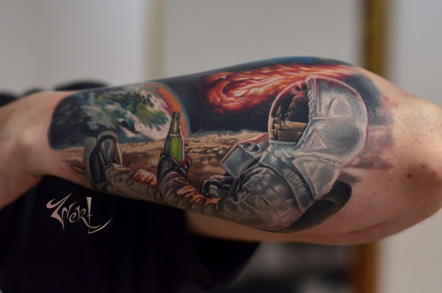 Astronaut Beer Space Tattoo