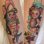 Baby Shark Baby Bear Tattoos on Arms