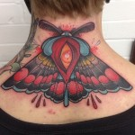 Back of Neck Moth Tattoo