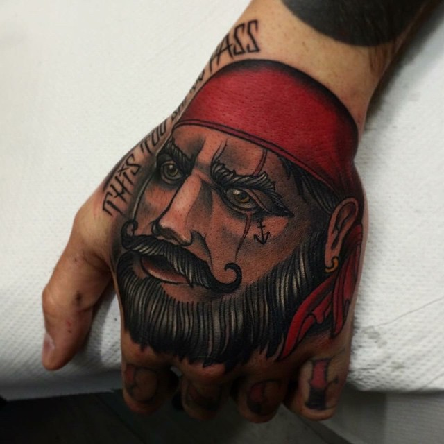 Beard Pirate Hand Tattoo