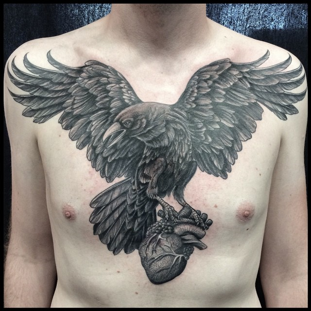 Big Bird with Heart Chest Tattoo