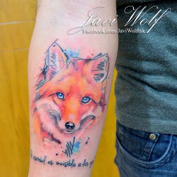 Blue Eyes Watercolor Tattoo