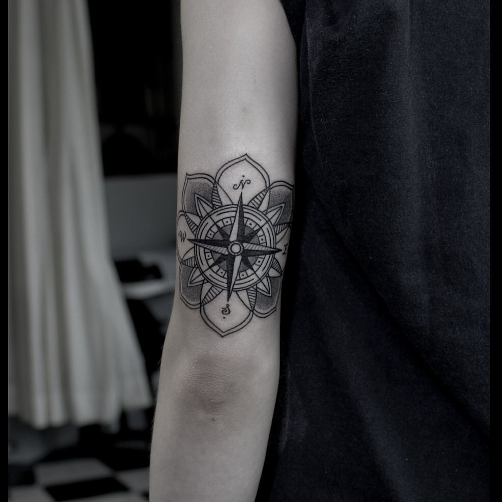 Compass Flower Tattoo on Arm