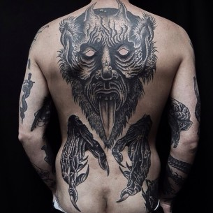 Cool Demon Back Tattoo