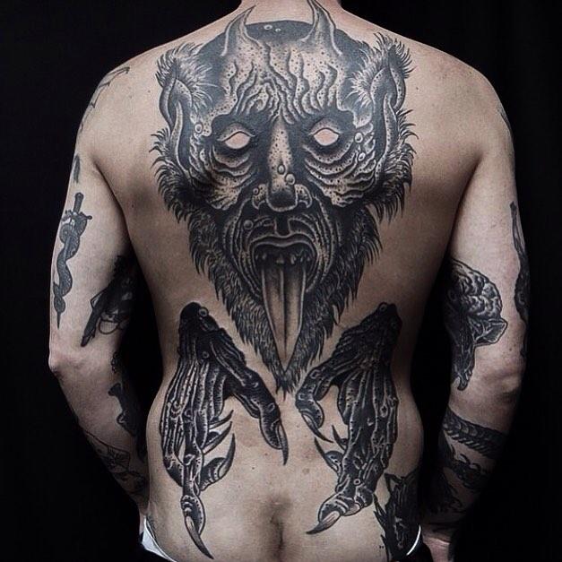 Cool Demon Back Tattoo