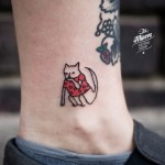 Dreamy Cat Tattoo on Ankle