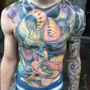 Eagle Snake Fight Tattoo