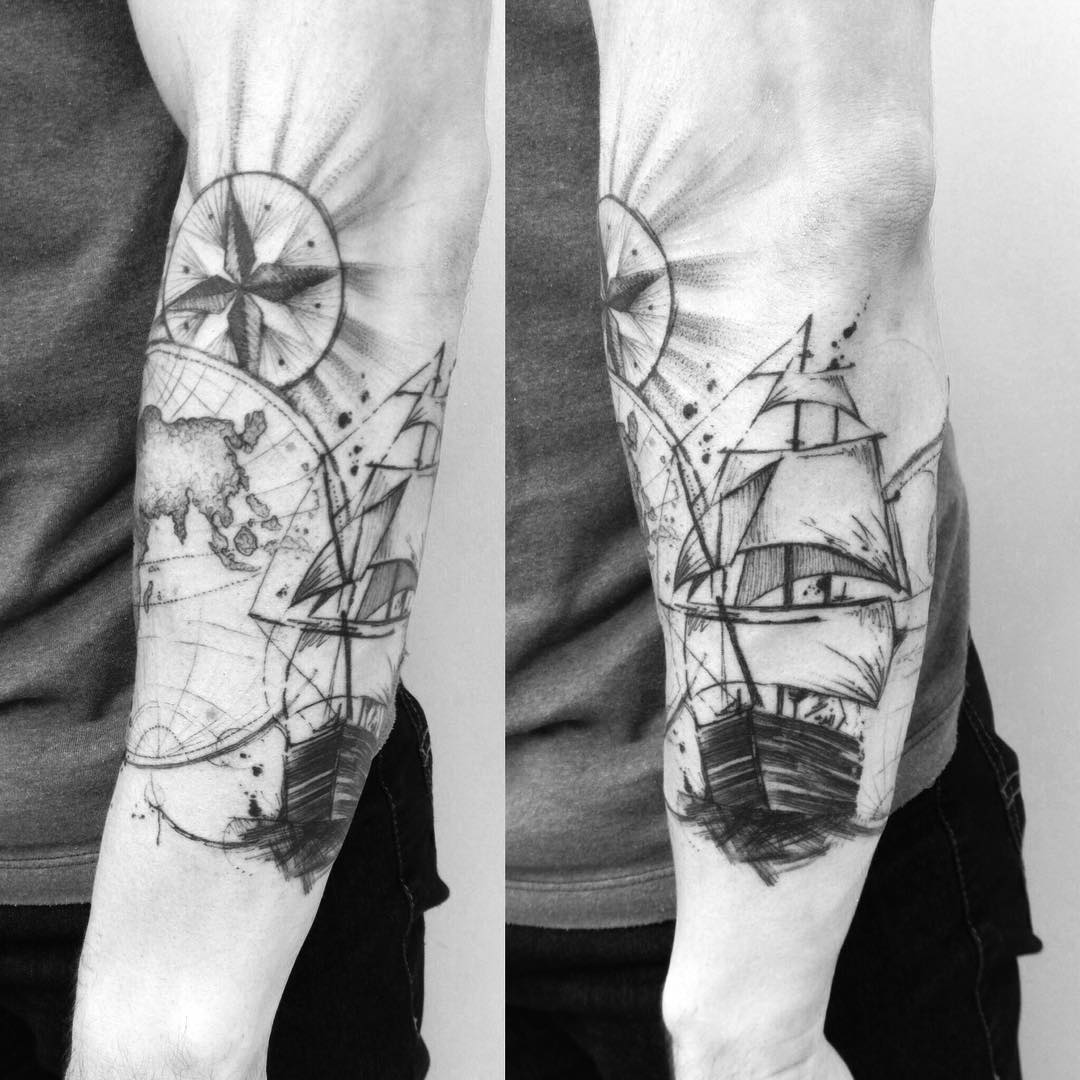 Explorer Ship Tattoo on Arm