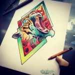 Fire Tiger Tattoo Design