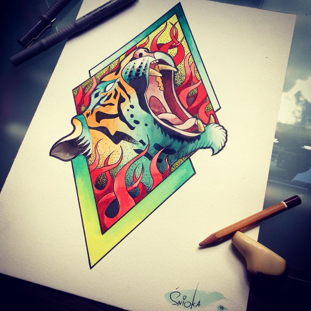 Fire Tiger Tattoo Design Best Tattoo Ideas Gallery