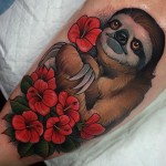 Flowers Sloth Tattoo