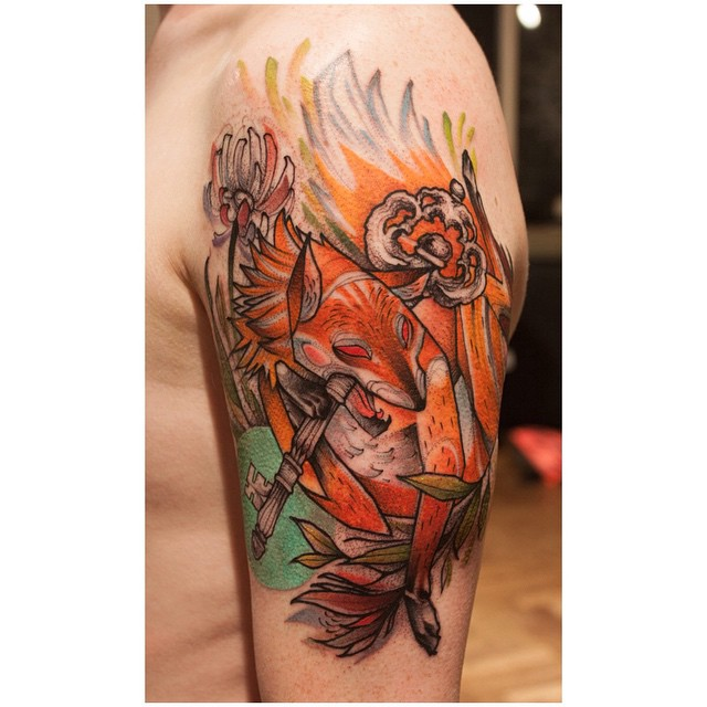 Fox with Key Tattoo on Shoulder