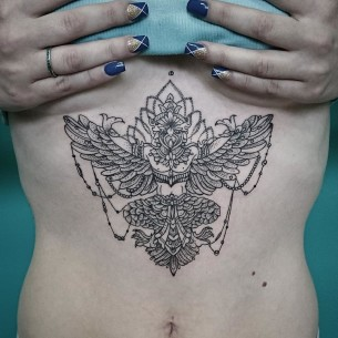 Garuda Tattoo on Stomach