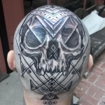 Geometry Skull Head Tattoo (3 photos)