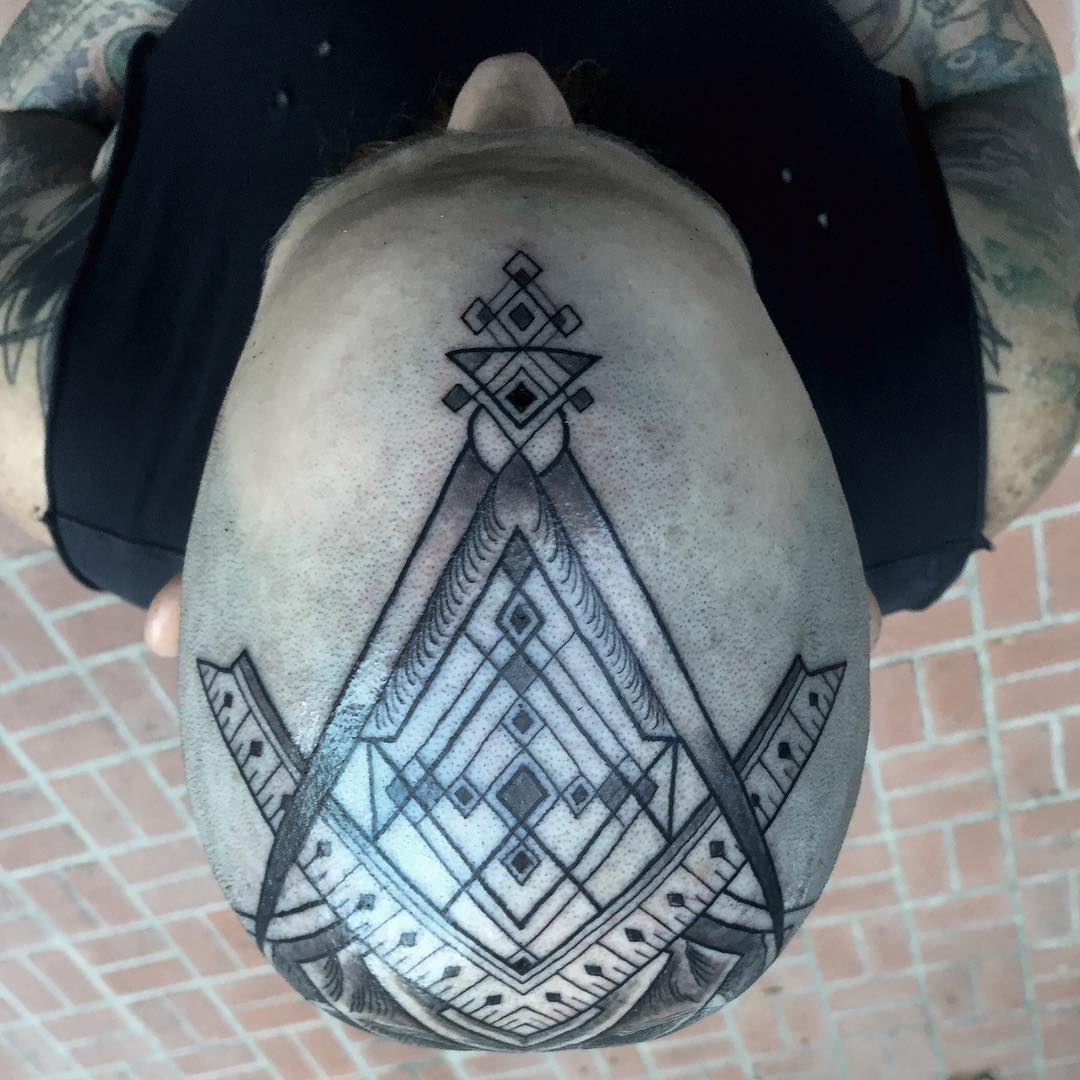 Geometry Skull Head Tattoo 2