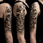 Graphic Roses on Shoulder Tattoo