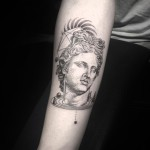 Greek Apollo Dotwork Tattoo