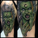 Green Witch Tattoo on Shoulder