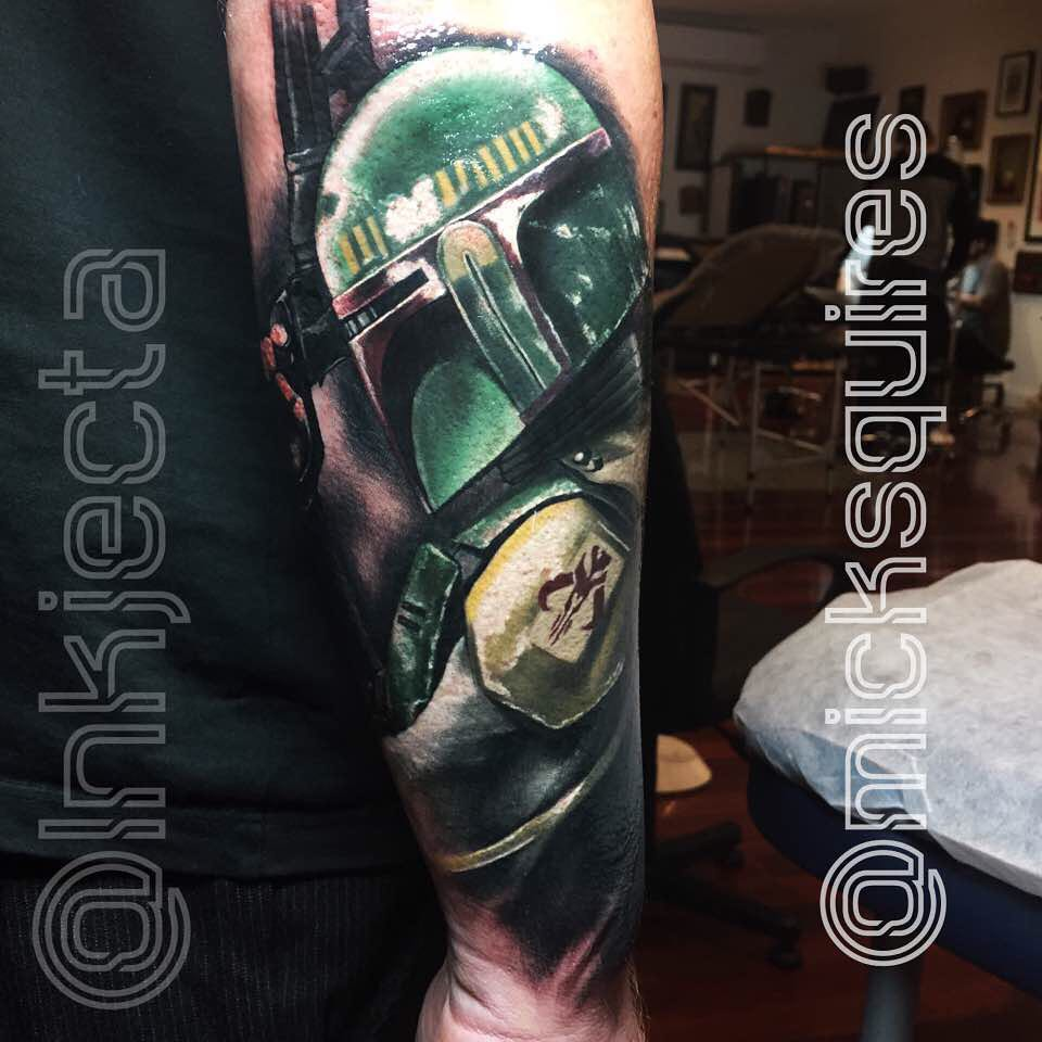 Gun Boba Fett Tattoo on Arm