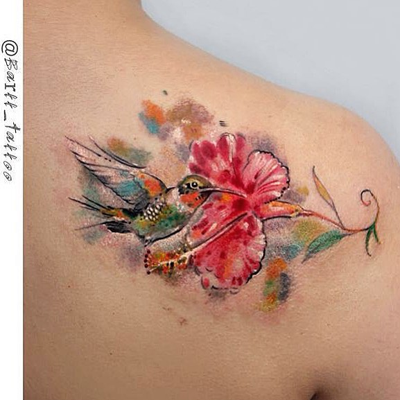 hummingbird and flower tattoo best tattoo ideas gallery