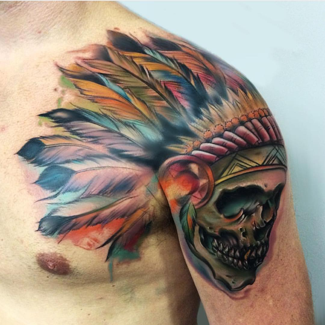 Indian Skull Tattoo on Shoulder