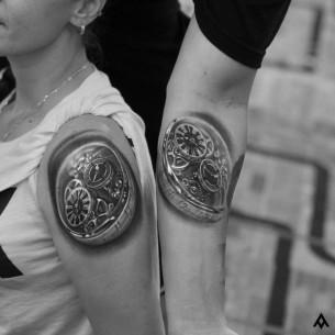 Mechanical Clocks Couple Tattoos
