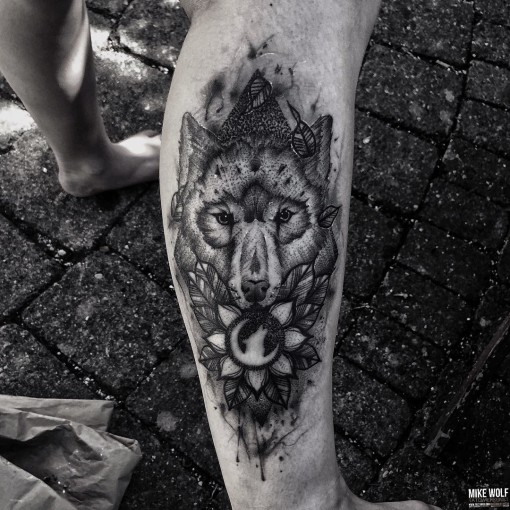 Moon Wolf Tattoo