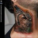 Neck Owl Tattoo