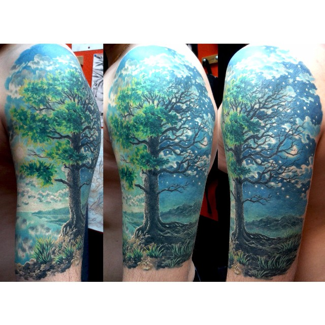 Night Tree Tattoo on Shoulder