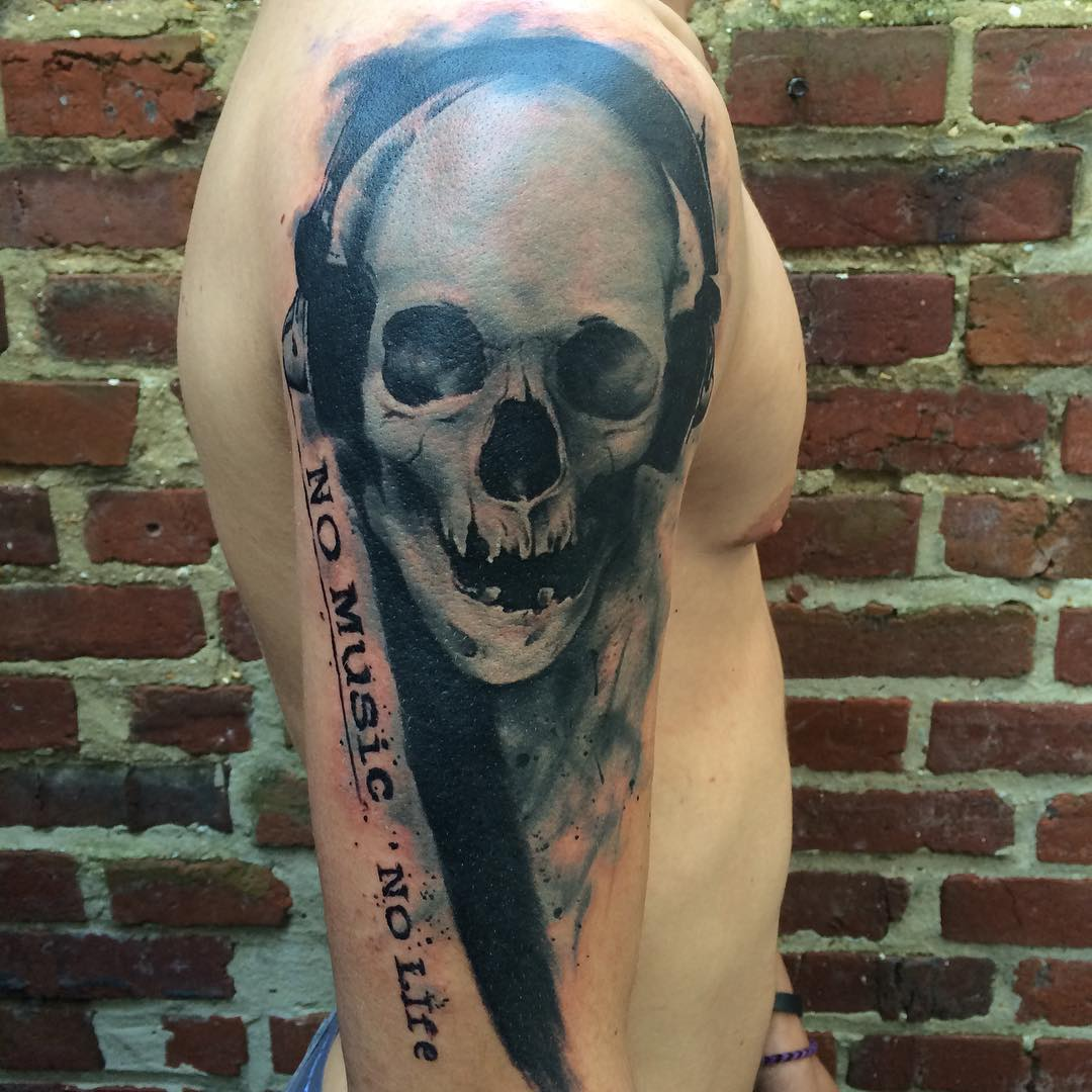 No Music No Life Skull Tattoo