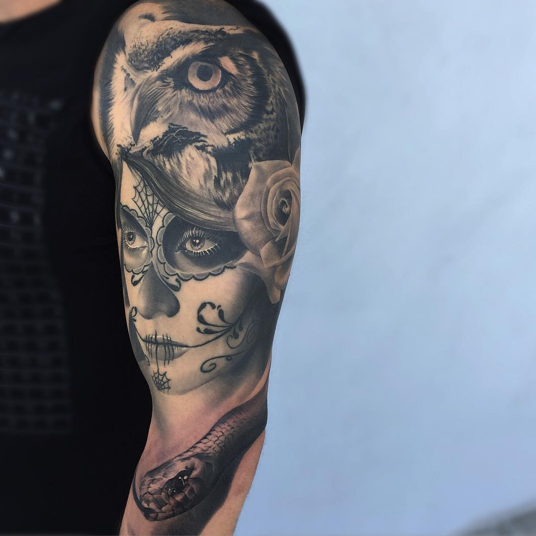 Owl Hat Santa Muerte Girl Tattoo Sleeve