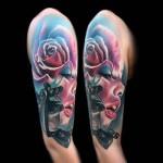 Pink Girl Face Rose Tattoo on Shoulder