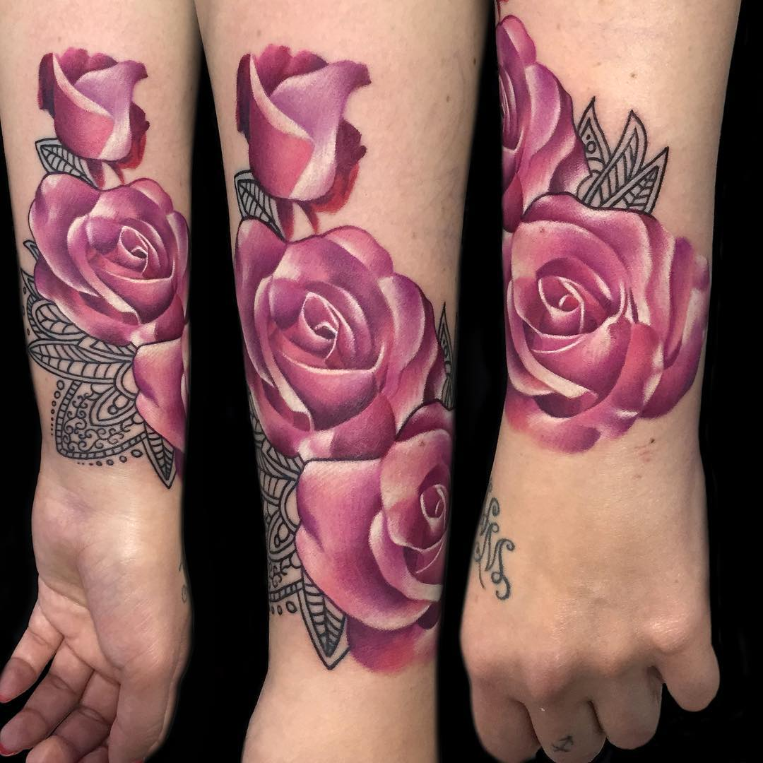 Pink Roses on Wrist