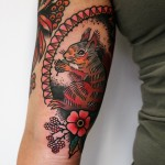 Neo Traditional Pretty Squirrel Tattoo