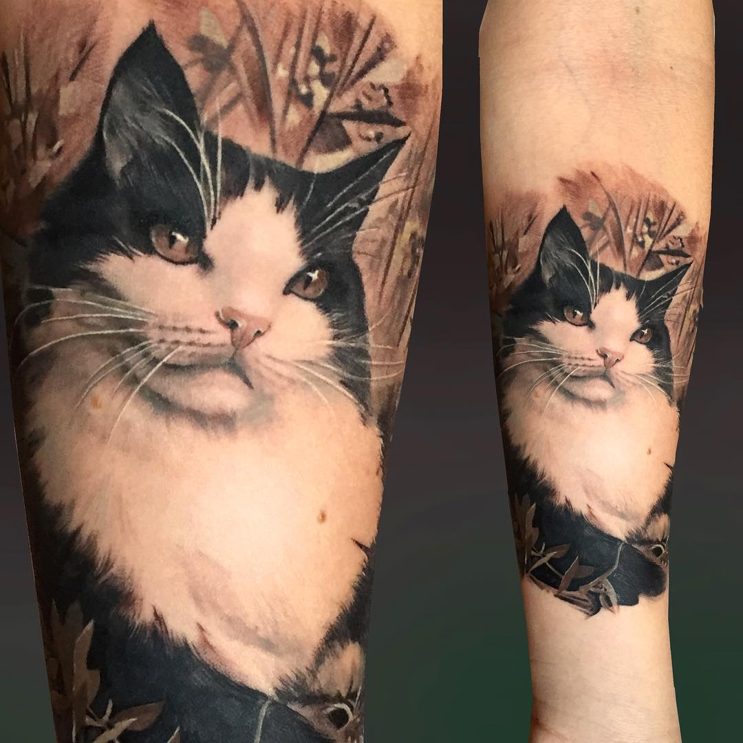 Realistic Cat Tattoo on Arm