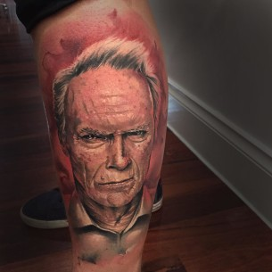 Realistic Clint Eastwood Tattoo on Calf