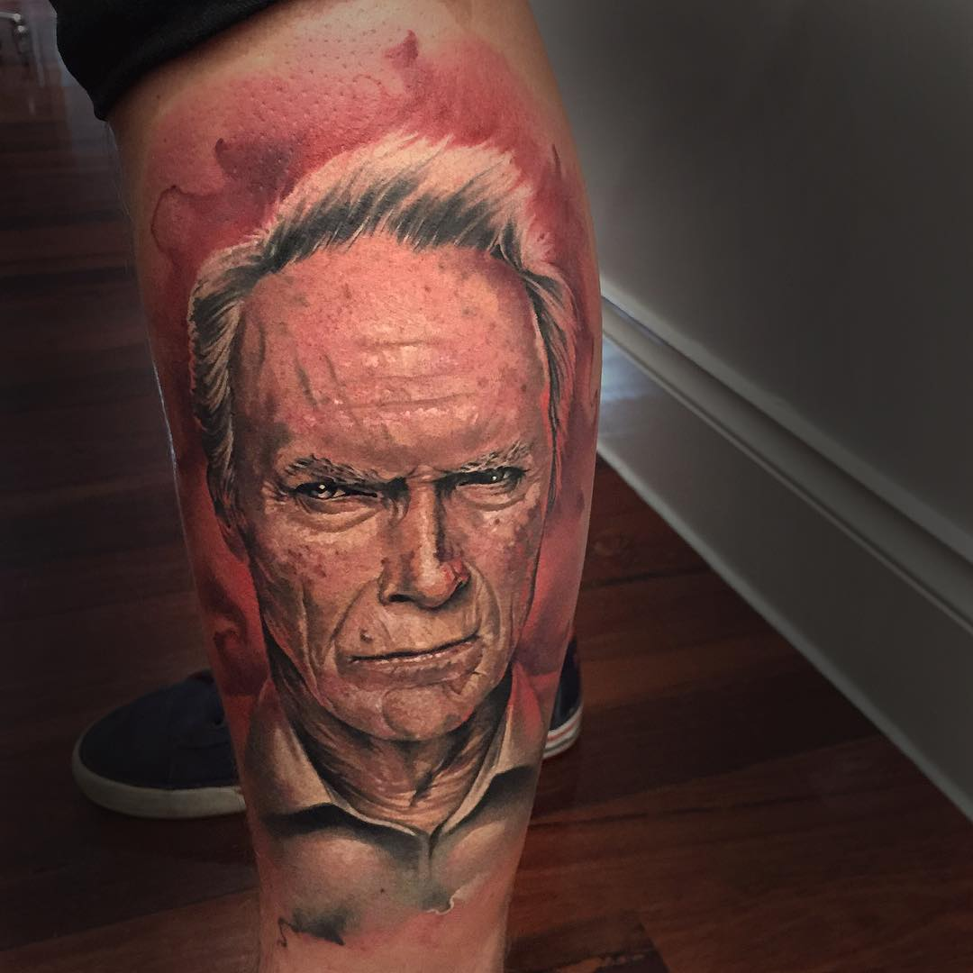 Realistic Clint Eastwood Tattoo