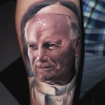 Realistic Pope Tattoo