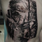 Realistic Stag Tattoo on Body