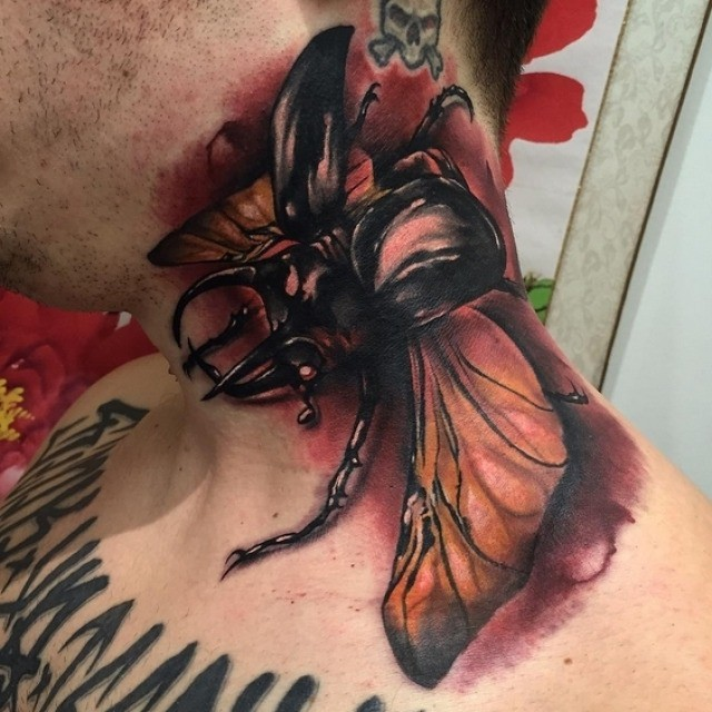 Rhinoceros Beetle Tattoo on Neck