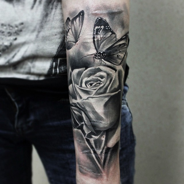 Rose and Butterfly Tattoo on forearm