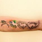 Running Dog Tattoo on Arm