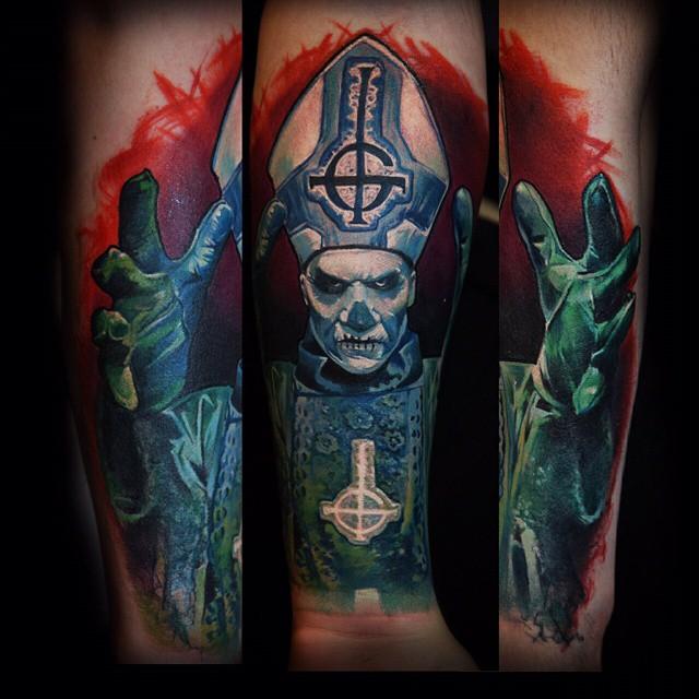 Satan Pope Tattoo