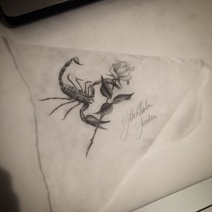 Scorpio Rose Tattoo Design