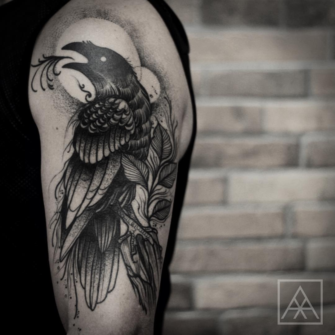 Screaming Raven Tattoo