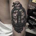 Skull Lighthouse Tattoo on Arm