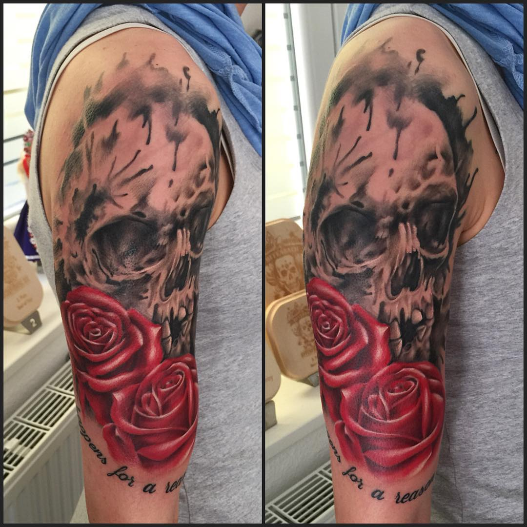 Watercolor Skull and Roses Tattoo on Shoulder