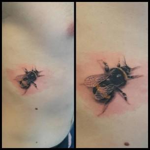 Small Bee 3D Tattoo
